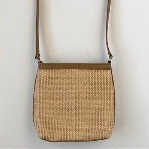 Fossil Woven Straw Leather Crossbody Small Purse